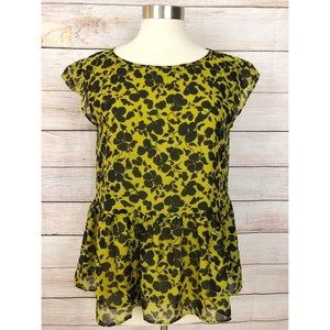 Ann Taylor Small Yellow Black Floral Peplum Blouse